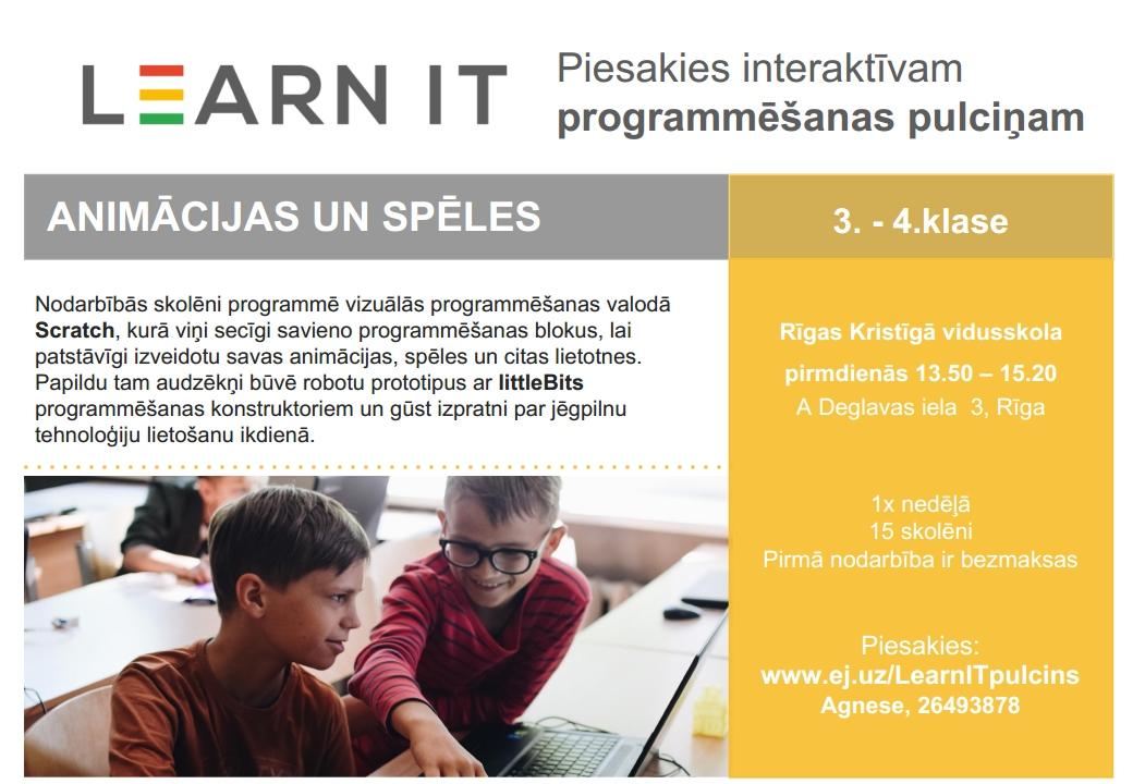 Aicinām pieteikt bērnus Learn IT pulciņā