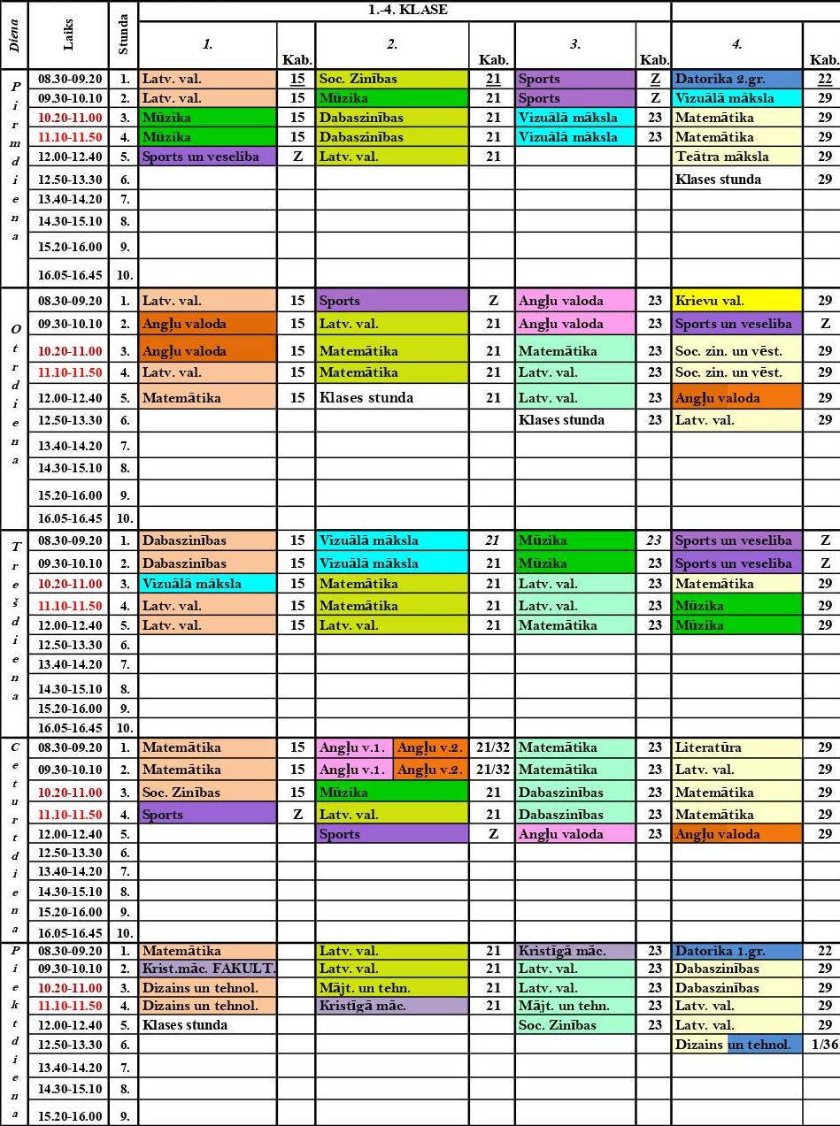 Stundu saraksts 1.-4.klasei